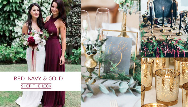 deep red burgundy, navy blue, gold autumn winter wedding colour scheme