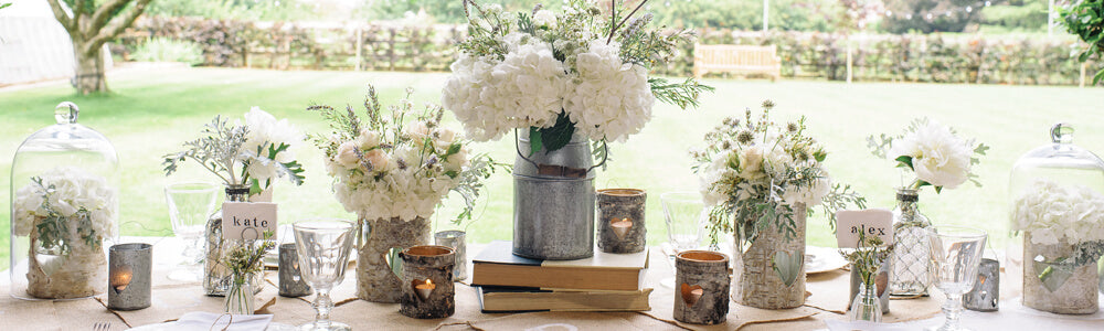 Rustic wedding decorations for sale Milk churn centrepiece barn vases tree slices The Wedding of my Dreams