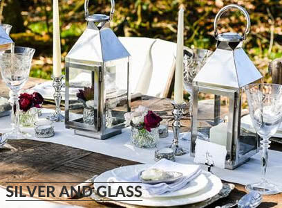 silver and glass wedding decorations for sale