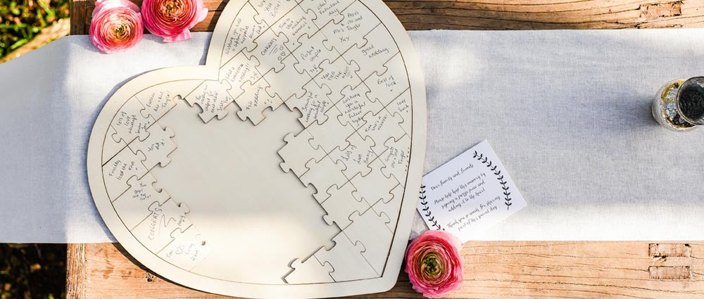 alternative wedding guest books wooden heart jigsaw puzzle for sale uk
