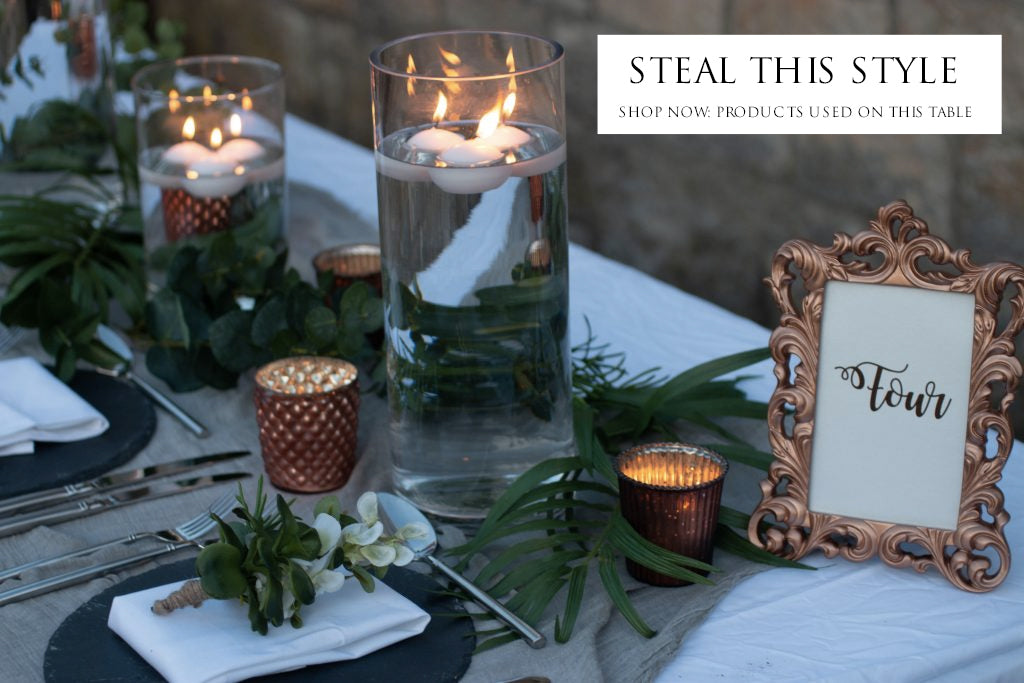 copper and grey wedding centrepiece ideas - shop this look