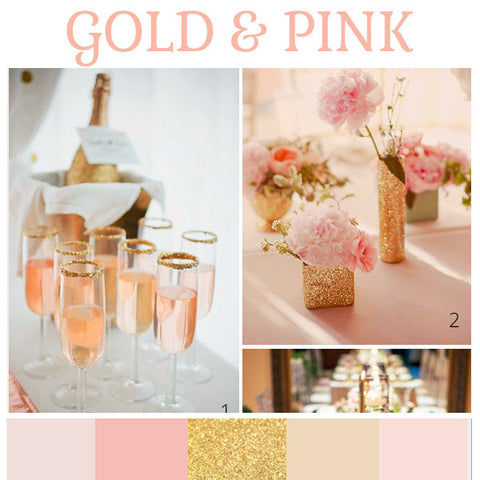 Gold and pink wedding colour scheme