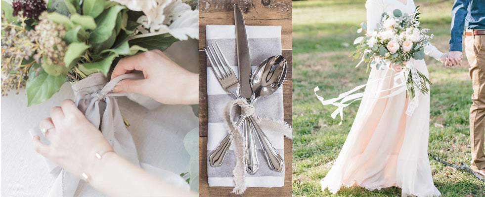 hand dyed silk wedding ribbons bouquets place settings