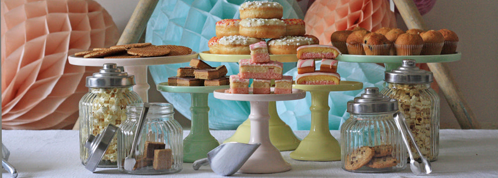 wedding candy buffet dessert table pastel cake plates jars scoops tongs candy bags