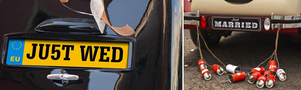 Wedding Car Decorations | Just Married Tin Cans, Number Plates