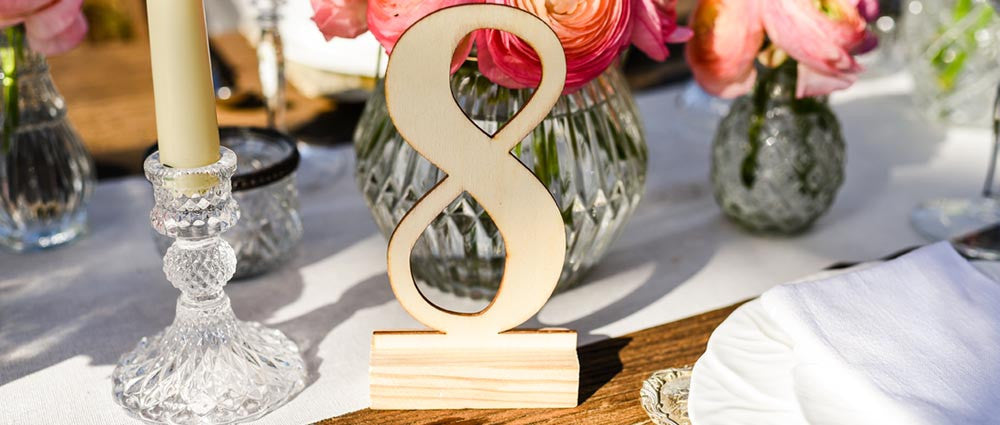 wooden calligraphy wedding table numbers for sale uk
