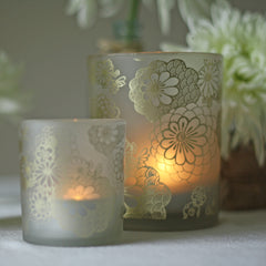 Frosted Vase or Votive Holders with Floral Design bronze gold