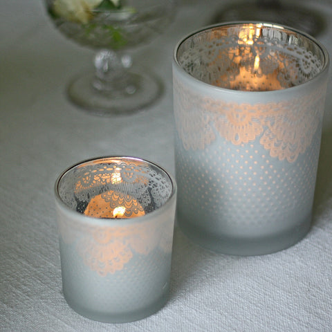 Frosted Vase or Votive with Lace