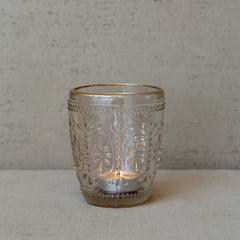 Pressed Glass Tea Light Holder Gold Rim The Wedding of my Dreams