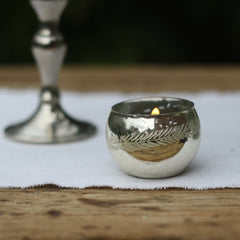 Antique Silver Tea Light Holder Leaf Design available from The Wedding of my Dreams