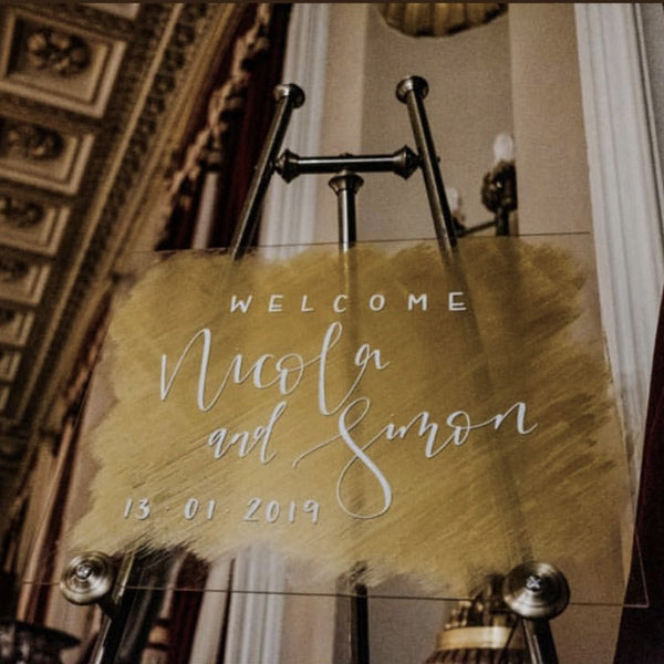 Personalised Acrylic Wedding Welcome Sign with Gold Background www.theweddingofmydreams.co.uk