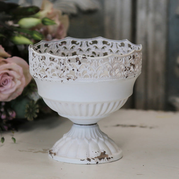 Antique Cream Compote Vase Urn (2 sizes)
