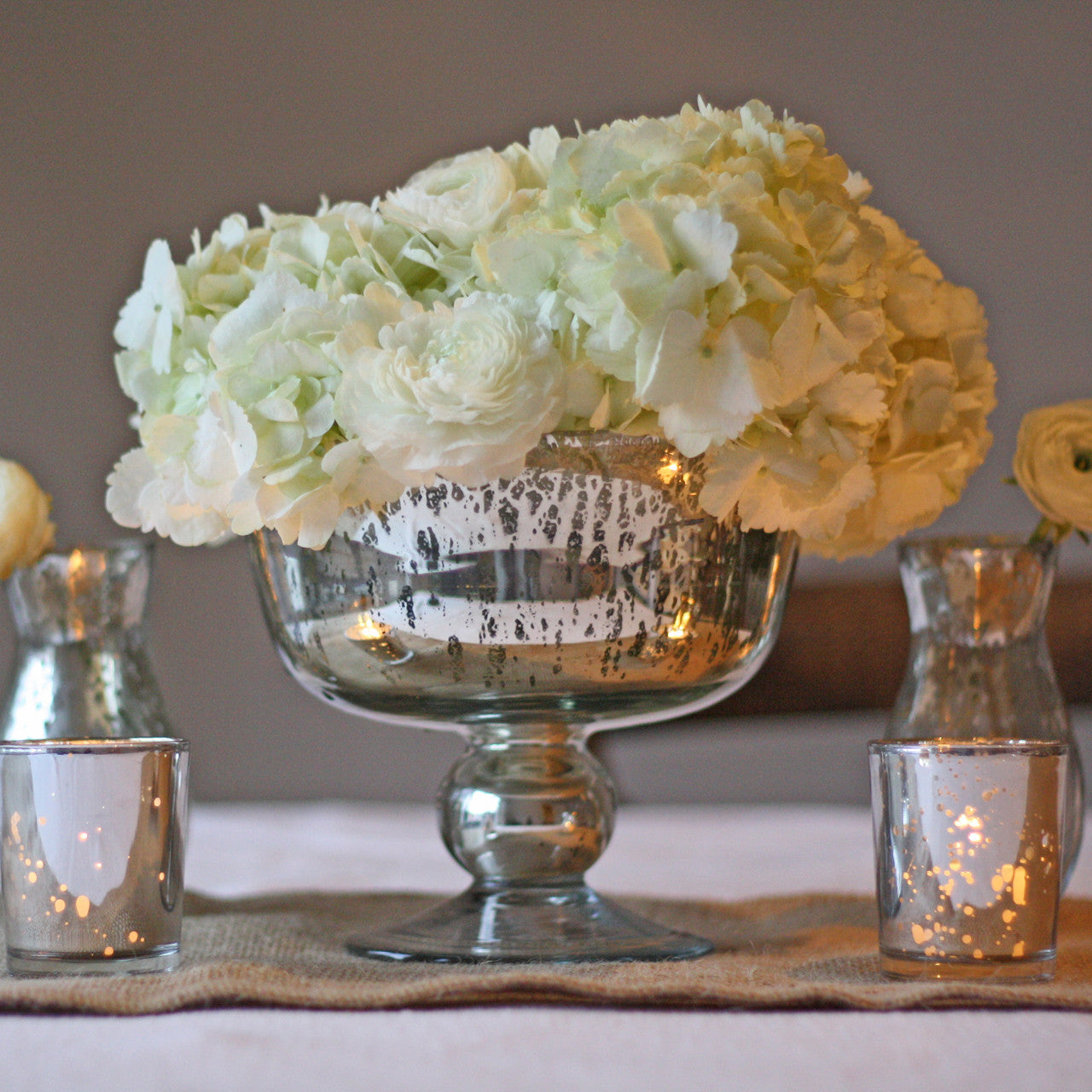 Antique Silver Footed Bowl Wedding Centrepiece The