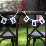Black and White Mr & Mrs Chair Bunting for weddings available from @theweddingomd