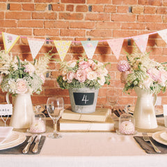 blackboard bucket country garden wedding table decorations