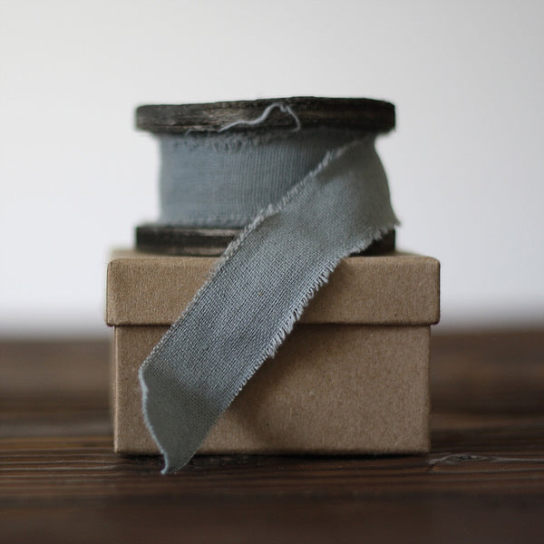 Blue Grey Linen Ribbon with Frayed Edges Weddings