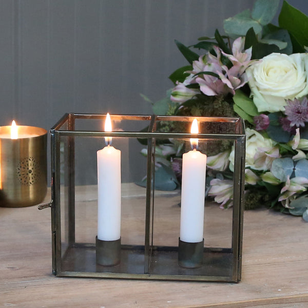 Brass Candlestick Holder with Glass Frame - Brass Wedding Styling The Wedding of my Dreams
