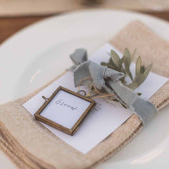 Tiny Brass Photo Frame Place Card for wedding place settings - available from The Wedding of my Dreams