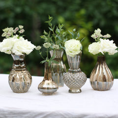Set of 5 Bronze Glass Posy Vases with Lustre Finish on Tray The Wedding of my Dreams