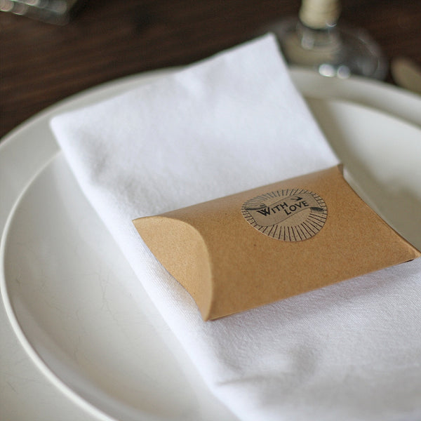 Brown Card Favour Boxes Pillows Rustic Wedding