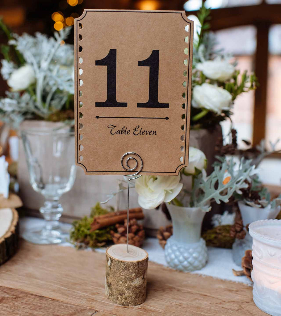 Wedding Table Place Card Ideas: Rustic Wooden Bark Card Holders With Wire