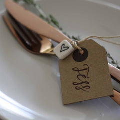 brown luggage tags wedding place settings available from The Wedding of my Dreams