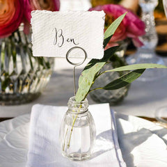 glass bud vase place card holders available from The Wedding of my Dreams