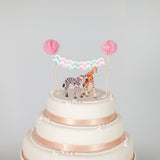 mini bunting for wedding cake chevron pom poms animal cake toppers
