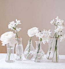Set Of 6 Clear Glass Vases With Gold Rim On Tray Wedding Centrepiece