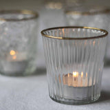 Ribbed Clear Glass Tea Light Holder  with Gold Rim - available from The Wedding of my Dreams @theweddingomd
