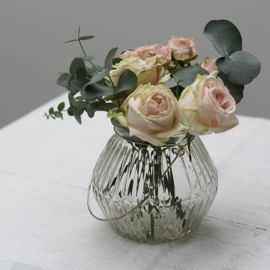 Clear Glass Vase with Gold Handle available from The Wedding of my Dreams