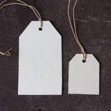 cream card luggage tags pre strung with twine