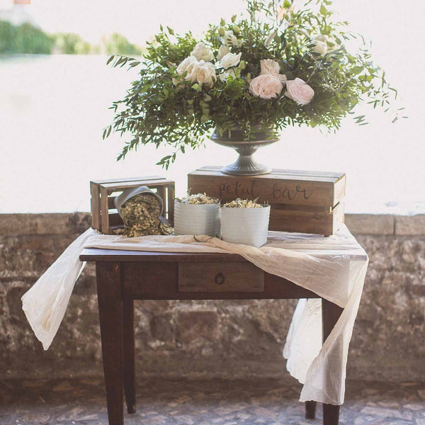 Cream crumpled wedding table cloth available from The Wedding of my Dreams