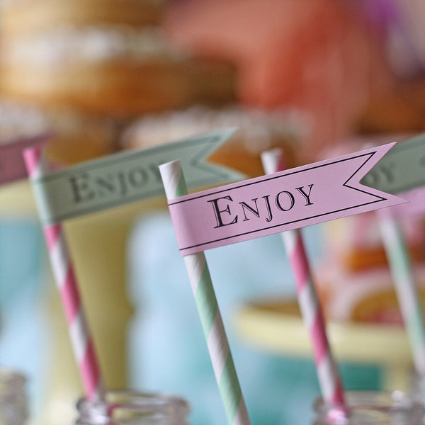 ENJOY Paper Flag stickers for straws wedding available from @theweddingomd