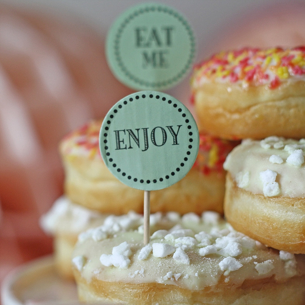 eat me cake toppers for cup cakes wedding dessert tables mint rgeen
