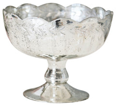 Elegant Mercury Silver Footed Bowl with Leaf Design wedding centrepieces - The Wedding of my Dreams
