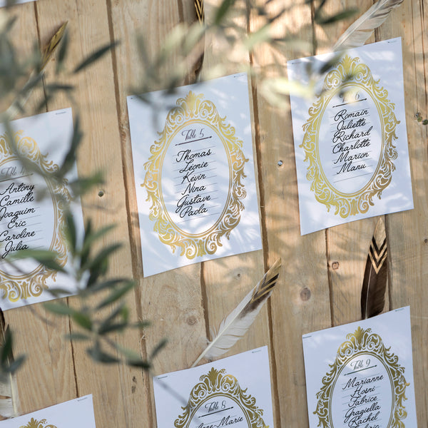 Elegant Gold Table Plan Cards (1 - 10) www.theweddingofmydreams.co.uk
