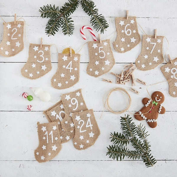 Fill Your Own Advent Calendar Hessian Stockings