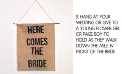 Free Template - Hessian Here Comes The Bride Signs by @theweddingomd