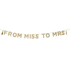 From Miss To Mrs Gold Glitter Bunting