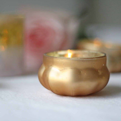 Mini Frosted Gold Floating Tea Light Holders