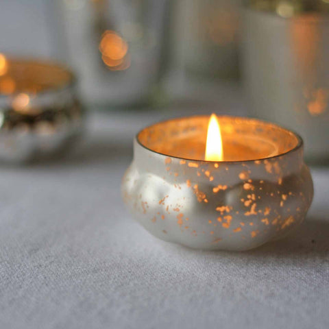 Mini Frosted Silver Floating Tea Light Holders