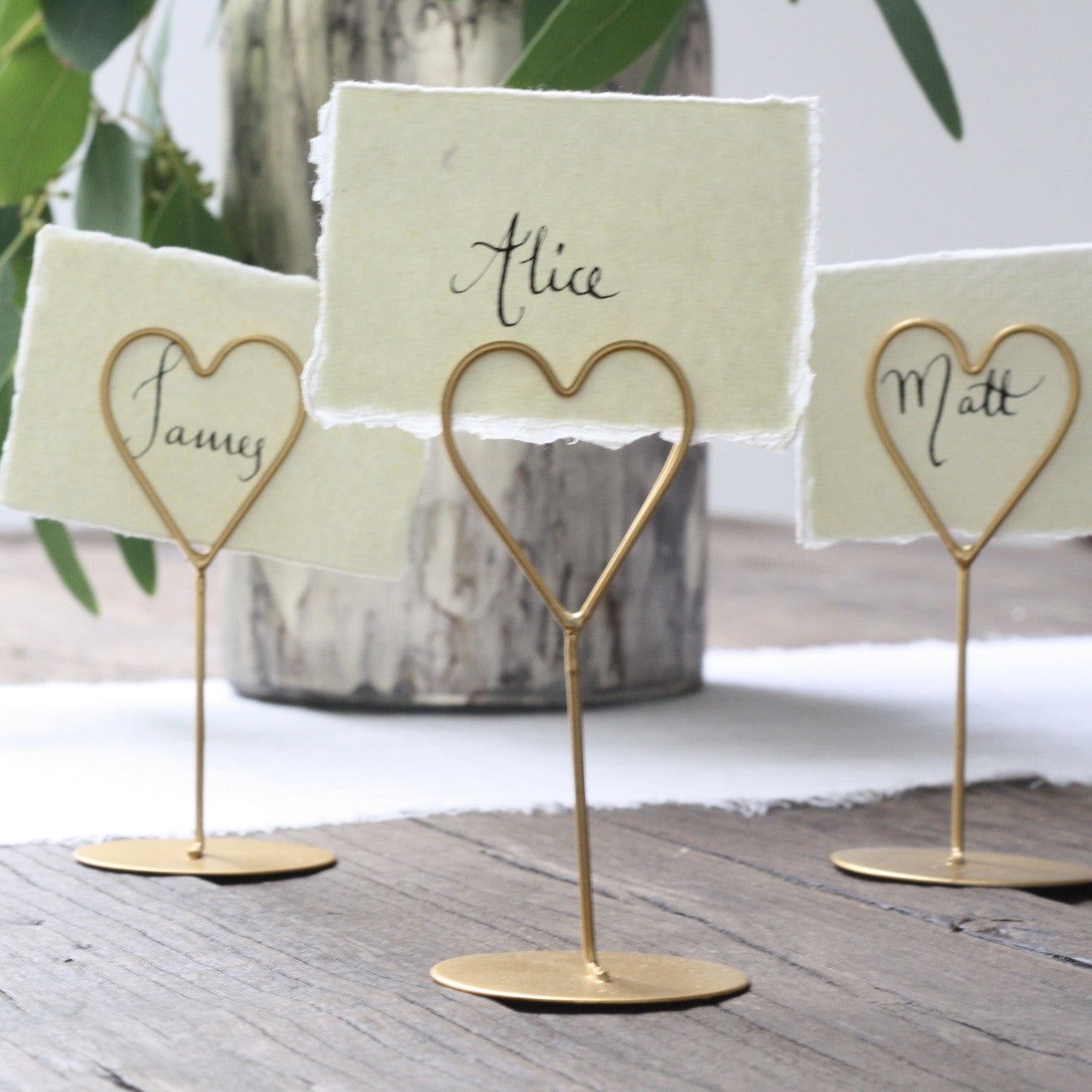 Gold Heart Place Card Holders - Set Of 8