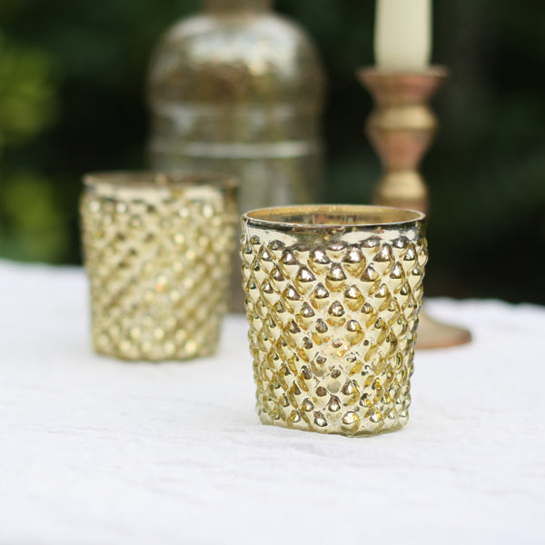 Gold Tea Light Holder Quilted Design The Wedding of my Dreams