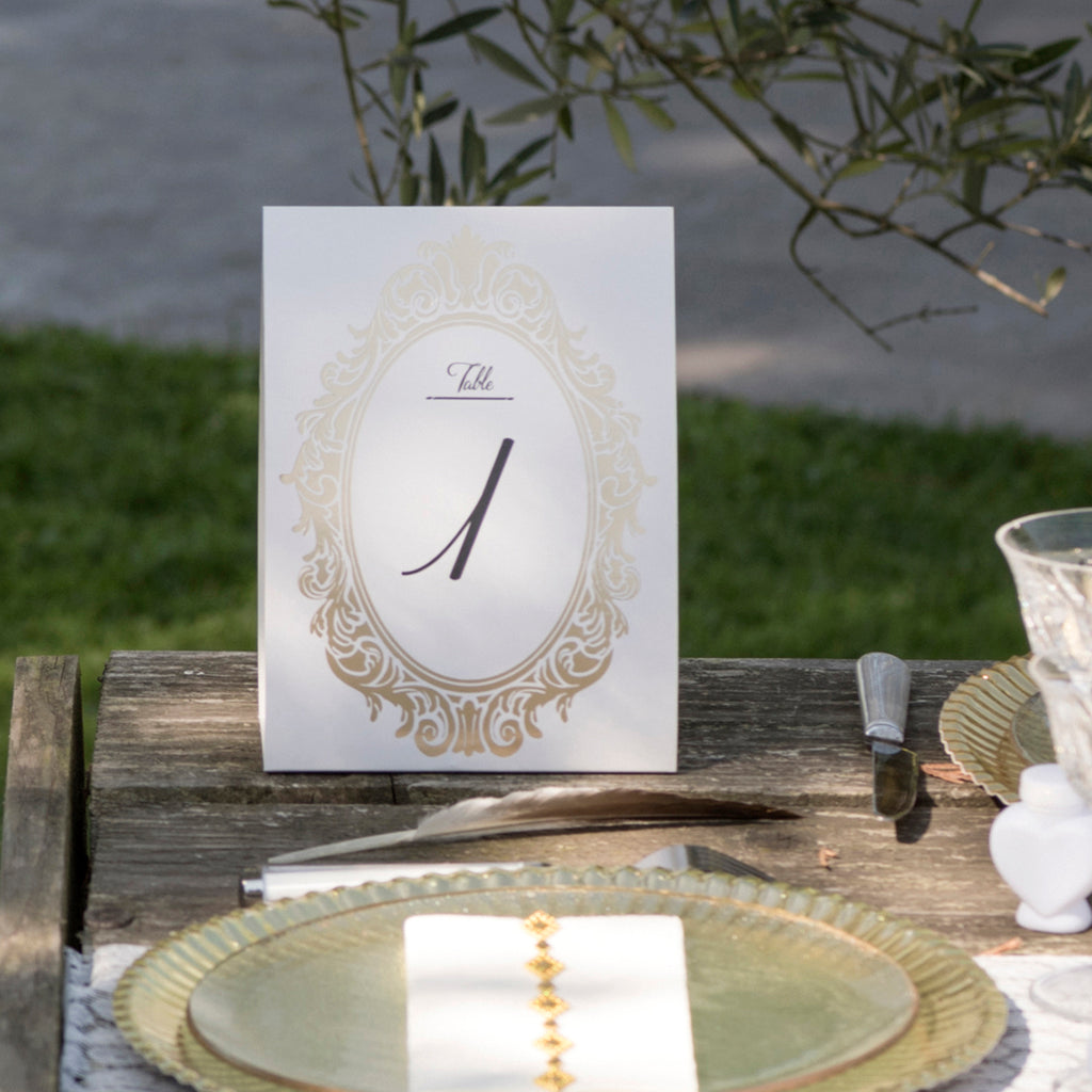 Gold Table Number Cards (1 - 10) Free Standing www.theweddingofmydreams.co.uk