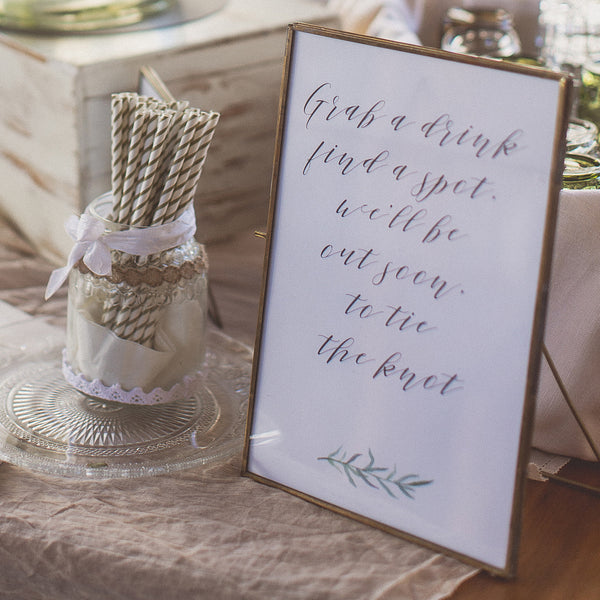 Grab A Drink, Find A Spot, We'll Be Out Soon To Tie The Knot - Digital Download / Printable
