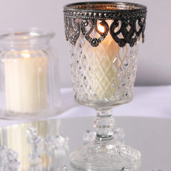 Grandma's Pressed Glass Footed Vase Candle Holder with Metal Rim The Wedding of my Dreams