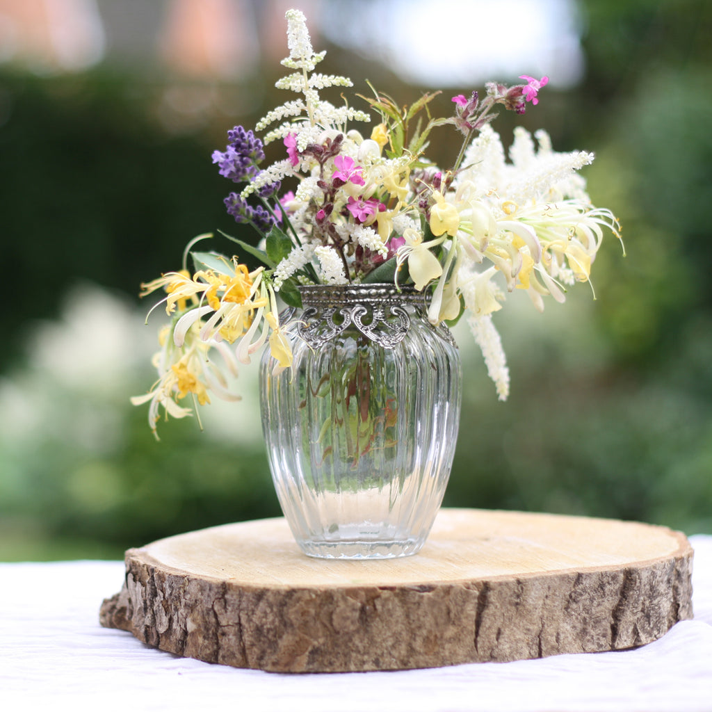 Ribbed Clear Glass Posy Vase with Metal Rim 10.5cm The Wedding of my Dreams