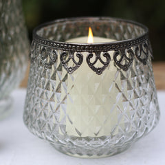 Grandma's Style Pressed Glass Vase or Lantern wedding decorations available from The Wedding of my Dreams