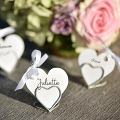 2 x Soft Grey Heart Name Card Holders Small